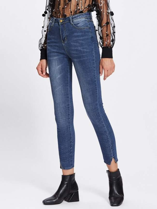 SheIn Cut Out Hem Skinny Jeans