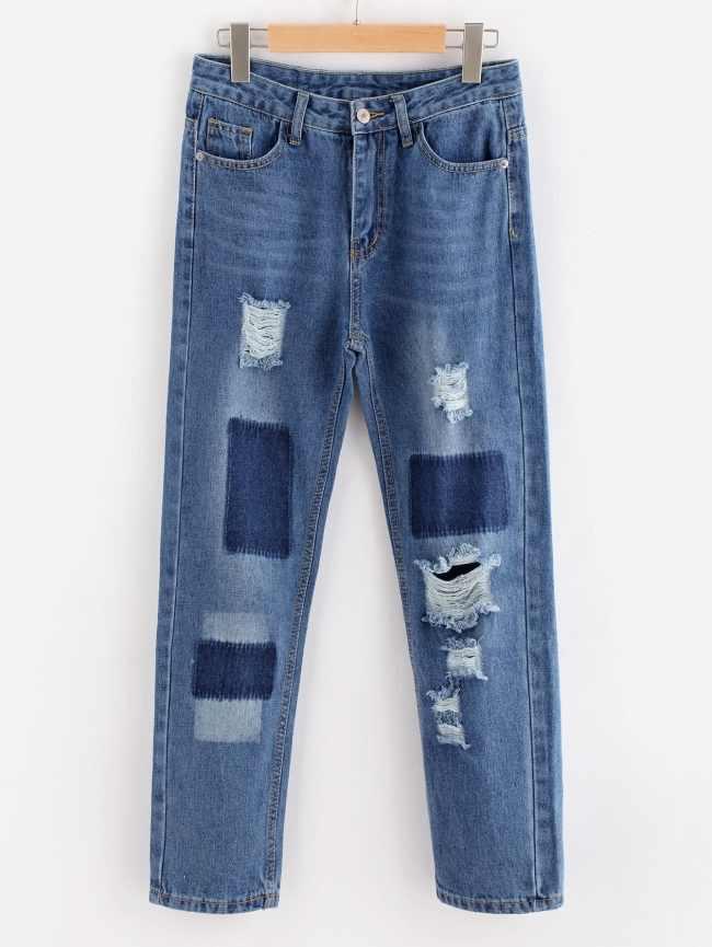 SheIn Bleach Wash Extreme Distressing Jeans
