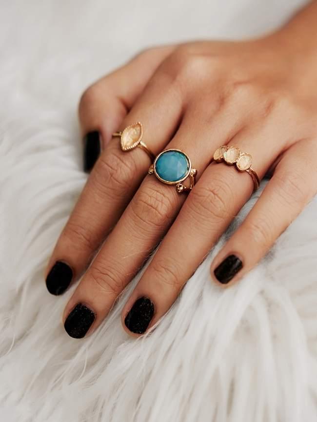 SheIn Gemstone Ring Set 3pcs
