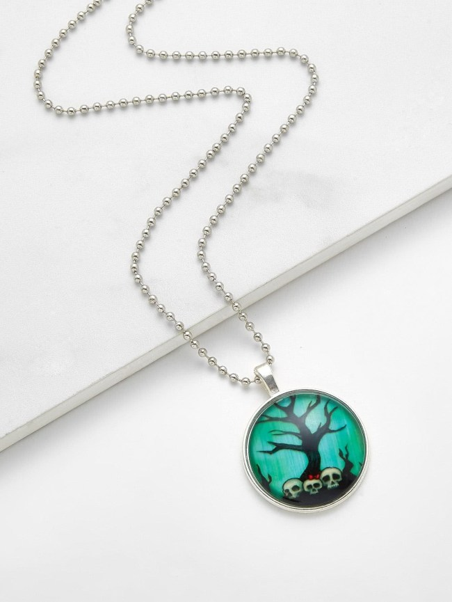 SheIn Skeleton & Tree Pendant Chain Necklace