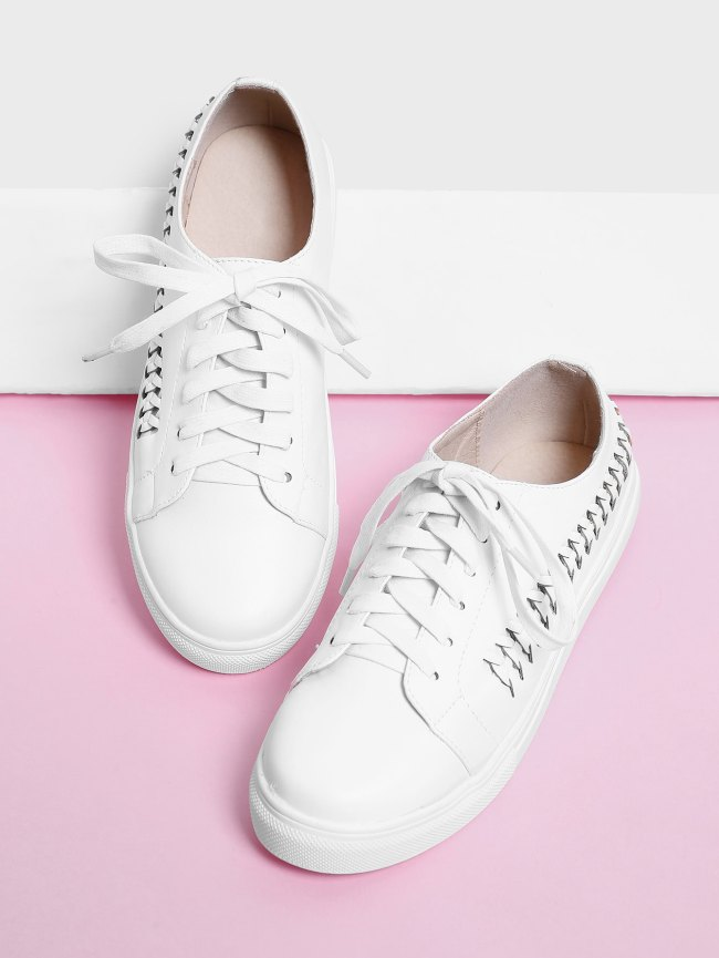 SheIn Woven Detail Lace Up Trainers