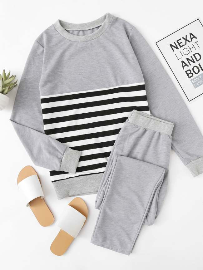 SheIn Contrast Stripe Top And Pants Pajama Set