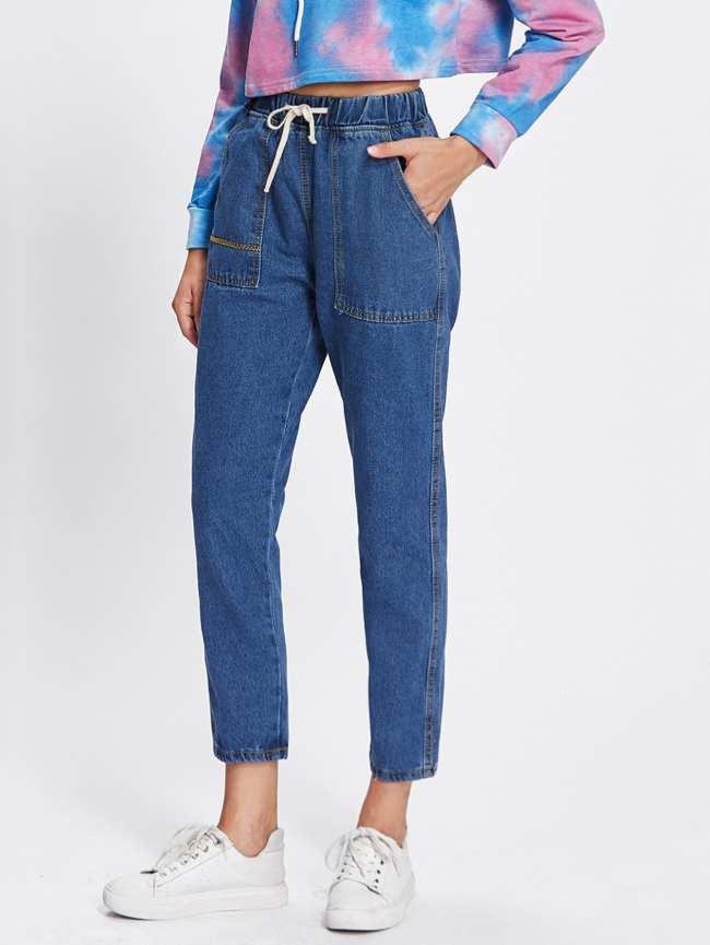 SheIn Drawstring Waist Dual Pocket Jeans