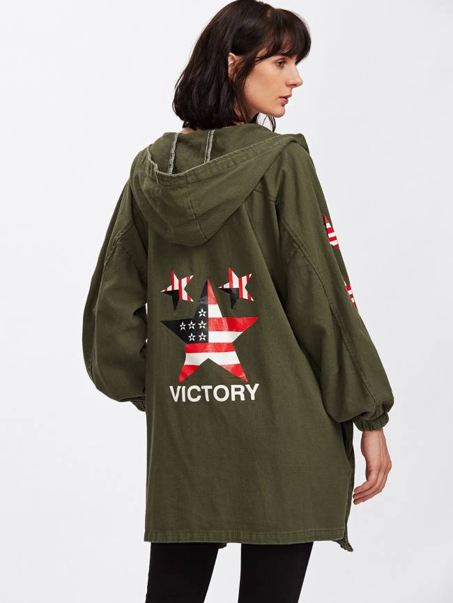 SheIn Hooded Star Print Single Breasted Coat
