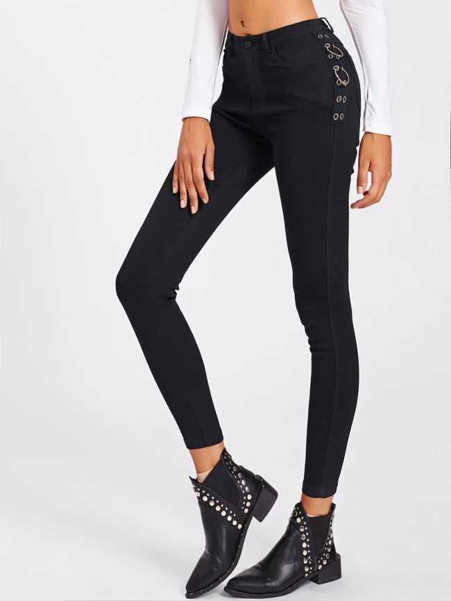 SheIn Grommet Ring Skinny Jeans