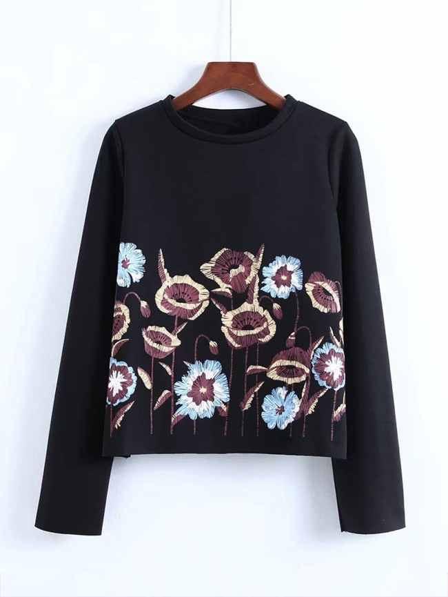 SheIn Embroidered Flower Jumper Sweatshirt