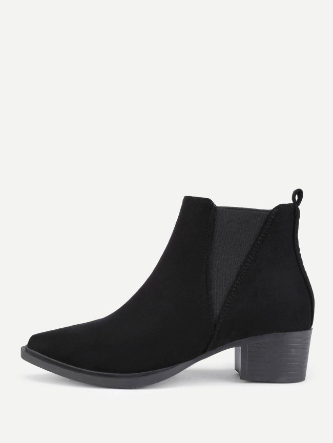 SheIn Pointed Toe Suede Ankle Boots