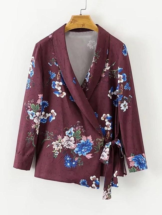 SheIn Surplice Neckline Tie Floral Blouse