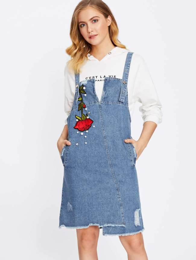 SheIn Rose Embroidered Frayed Hem Denim Overall