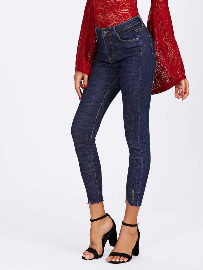 SheIn Cut Out Ripped Hem Skinny Jeans