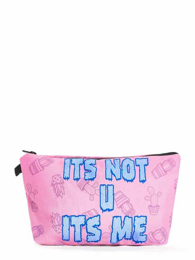 SheIn Slogan & Cactus Print Makeup Bag