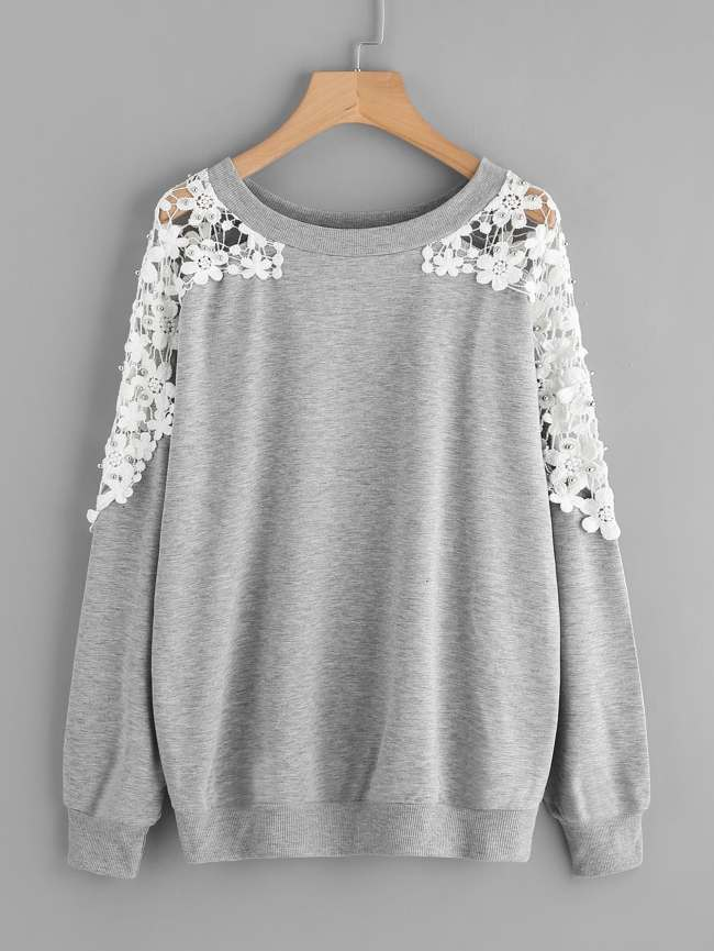 SheIn Lace Panel Beaded Sweatshirt