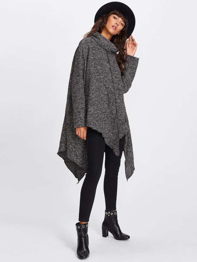 SheIn High Neck Asymmetric Hem Ribbed Sweater