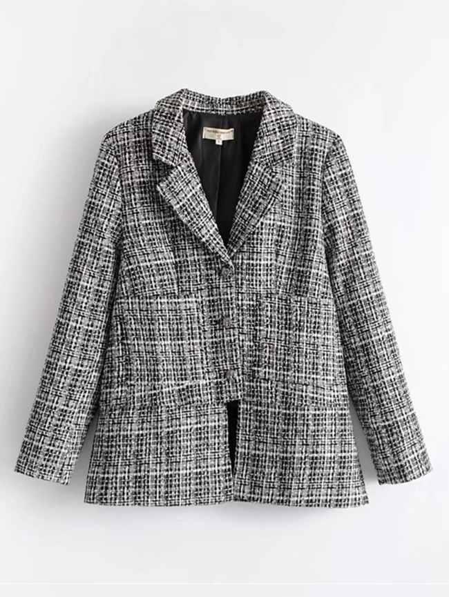 SheIn Side Slit Tweed Blazer
