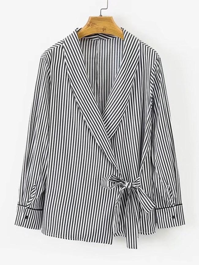 SheIn Self Tie Shawl Collar Striped Blouse