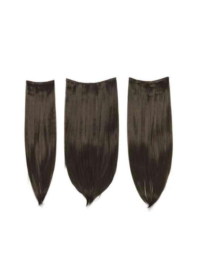 SheIn Choc Brown Clip In Straight Hair Extension 3pcs