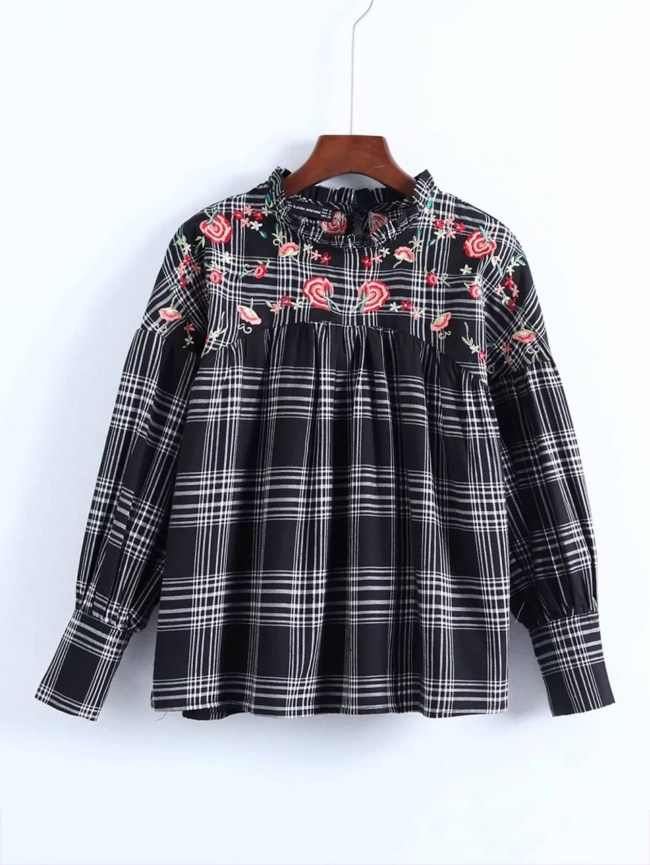 SheIn Embroidery Flower Babydoll Plaid Blouse