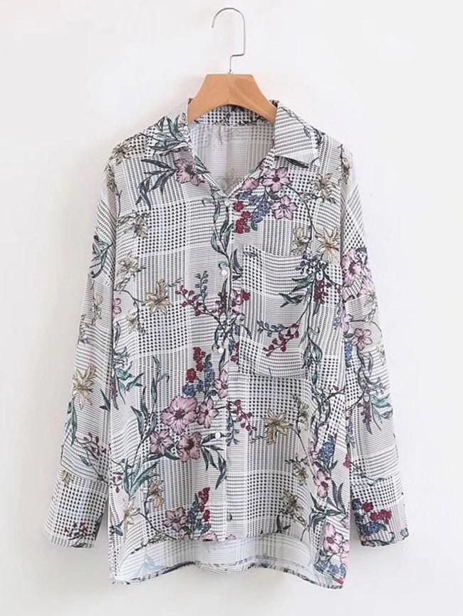 SheIn Floral Print Dip Hem Plaid Blouse