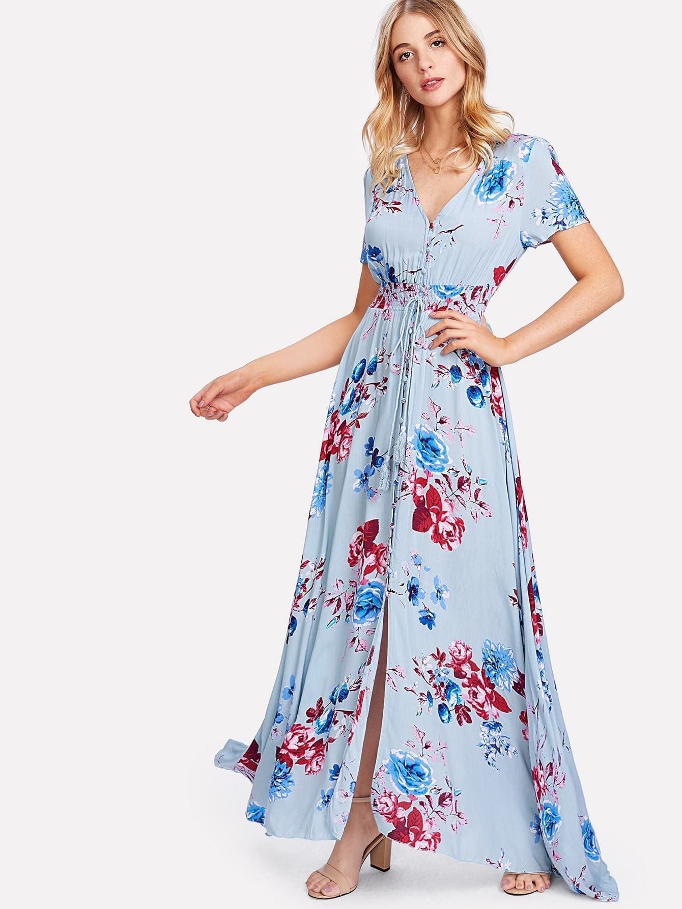 Button Up Front Tassel Tied Floral Dress Shein Sheinside