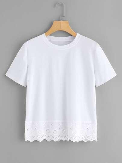 Tee-shirt découpé brodé à maille