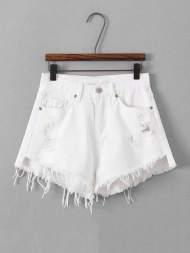 Shorts bord lacéré en denim