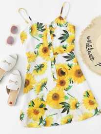 Sunflower Print Cami Dress