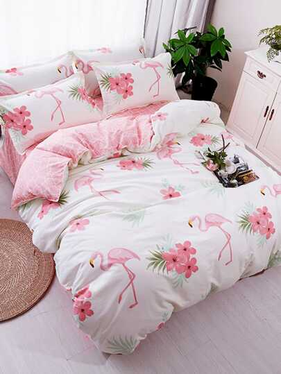 Flamingo Print Duvet Cover Set. Bedding Sets. Home Decor