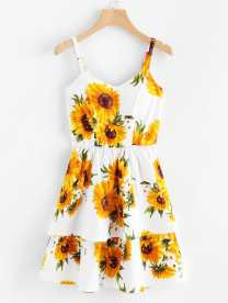 Sunflower Print Ruffle Hem Slip Dress