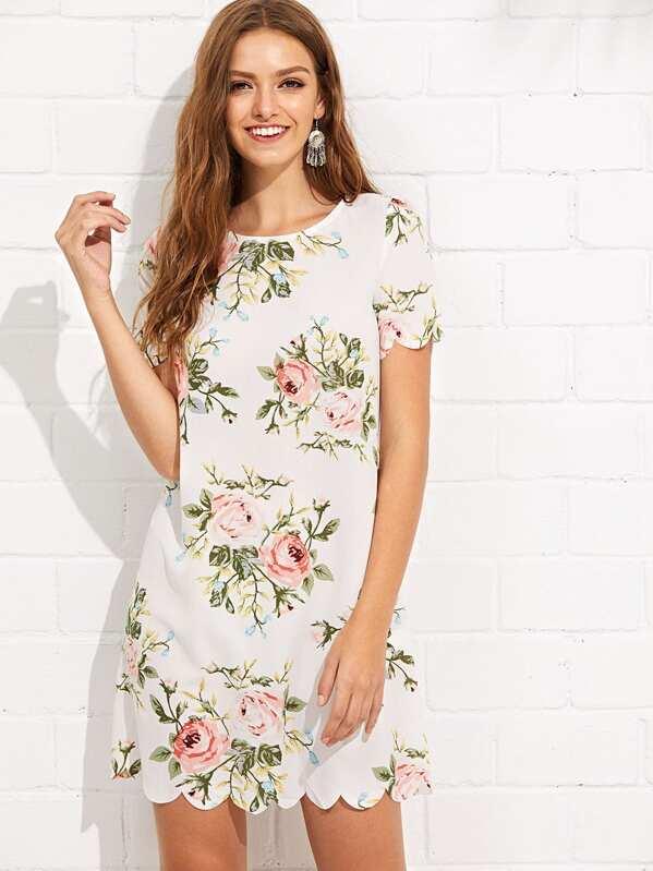 Scalloped Edge Floral Dress