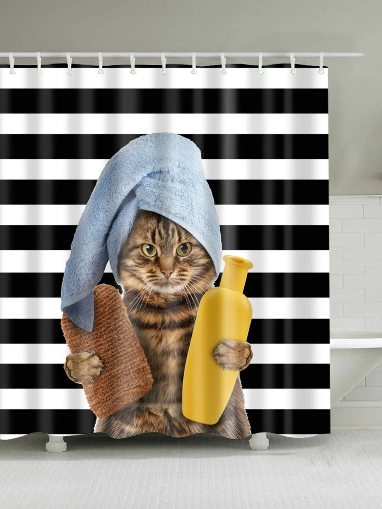 Bathing Cat Shower Curtain With Hook 12pcs