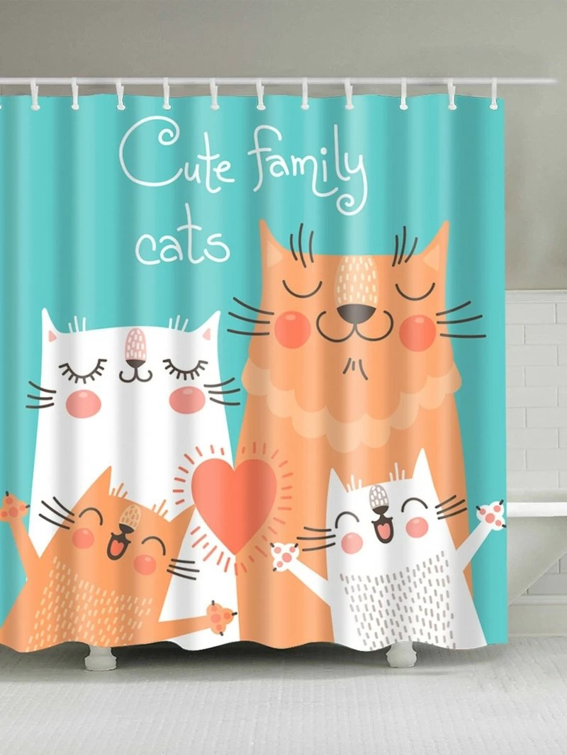 Cat Shower Curtain With Hook 12pcs