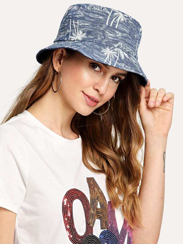 Palm Pattern Bucket Hat