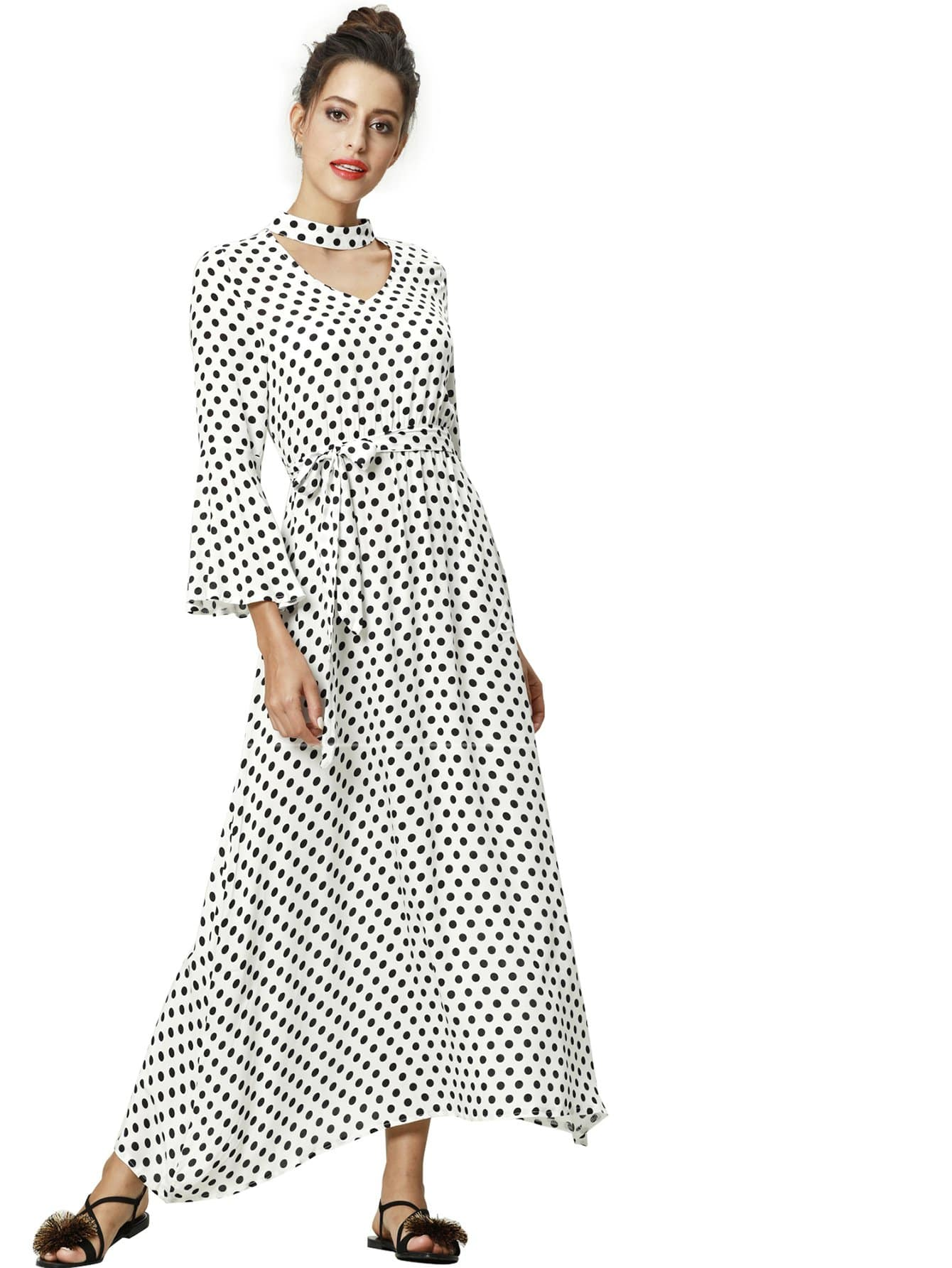 d13b26626e Polka Dot Tie Waist Bell Sleeve Dress Emmacloth Women Fast Fashion Online