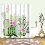 Cactus Pattern Shower Curtain With 12pcs Hook