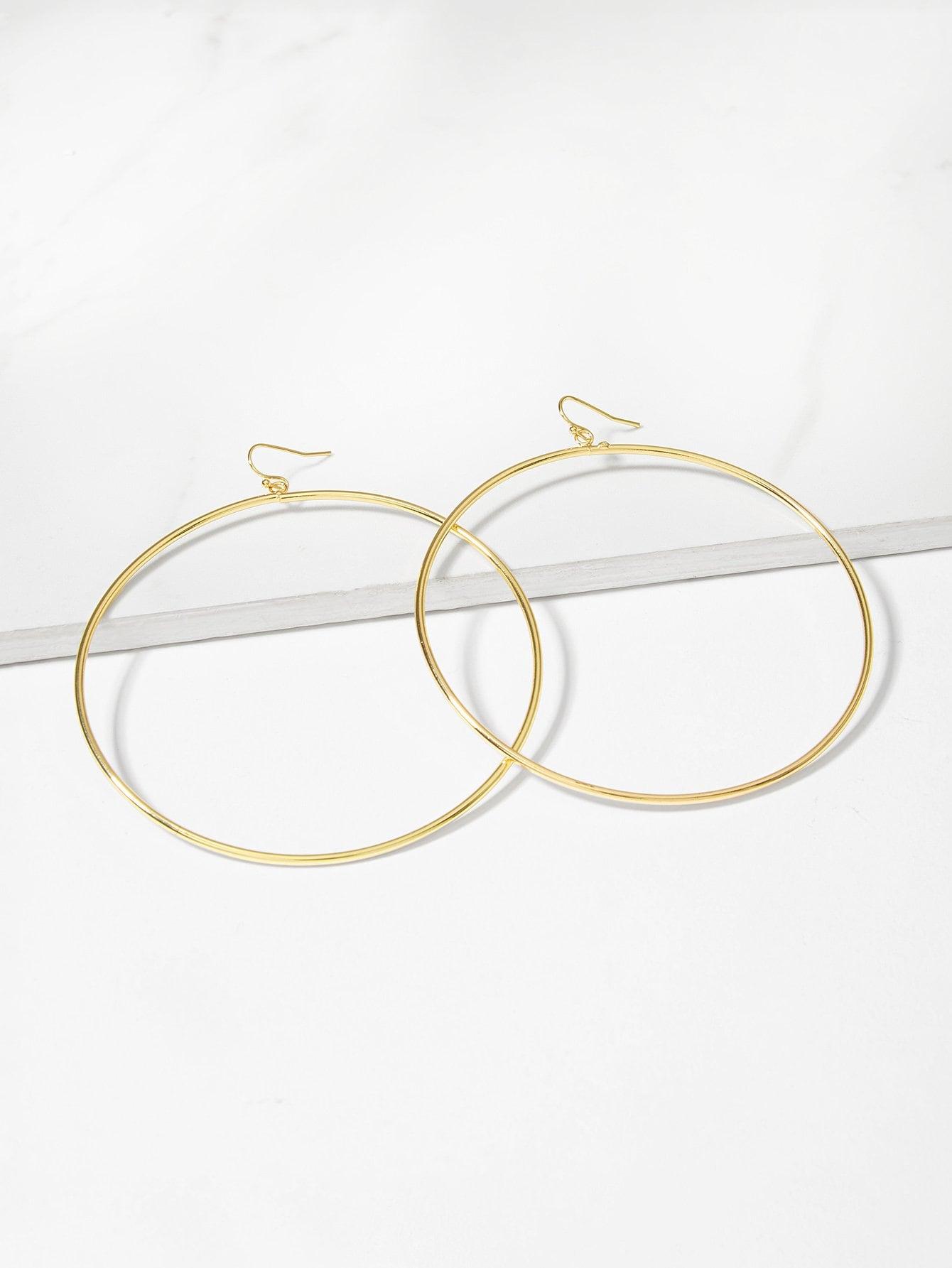 Simple Circle Oversize Hoop Earrings 1pair