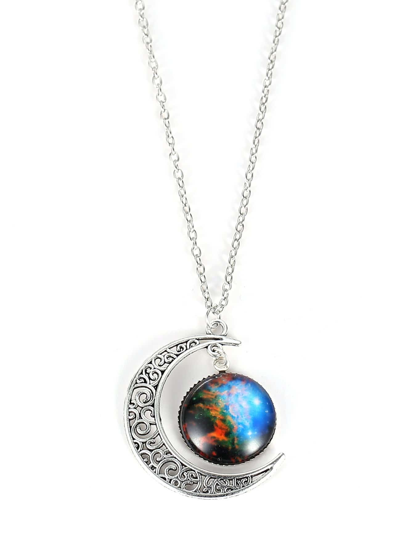 Star Sky Round Amp Moon Pendant Necklace