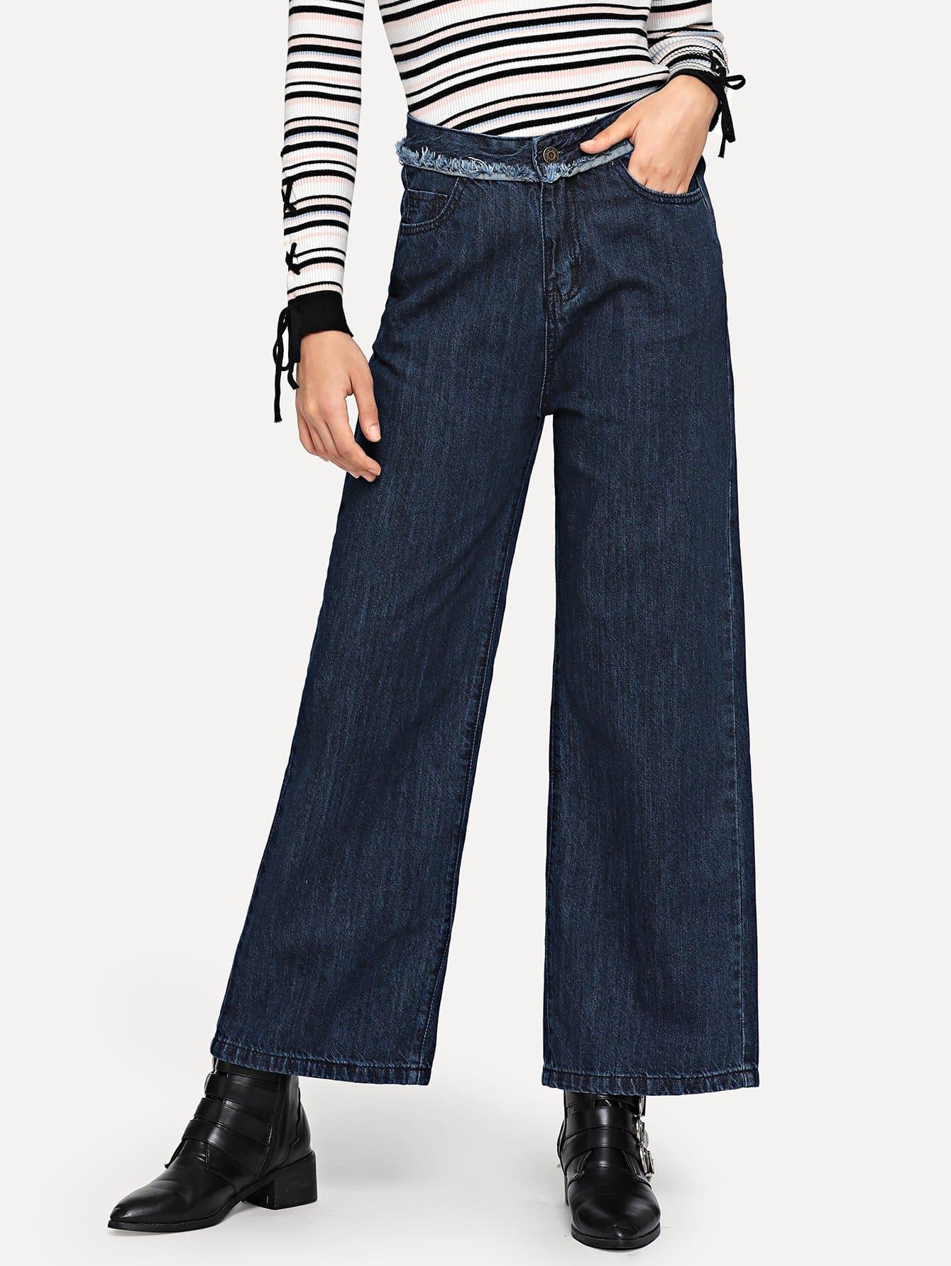 毛邊寬腿寬腿牛仔褲 | SHEIN臺灣