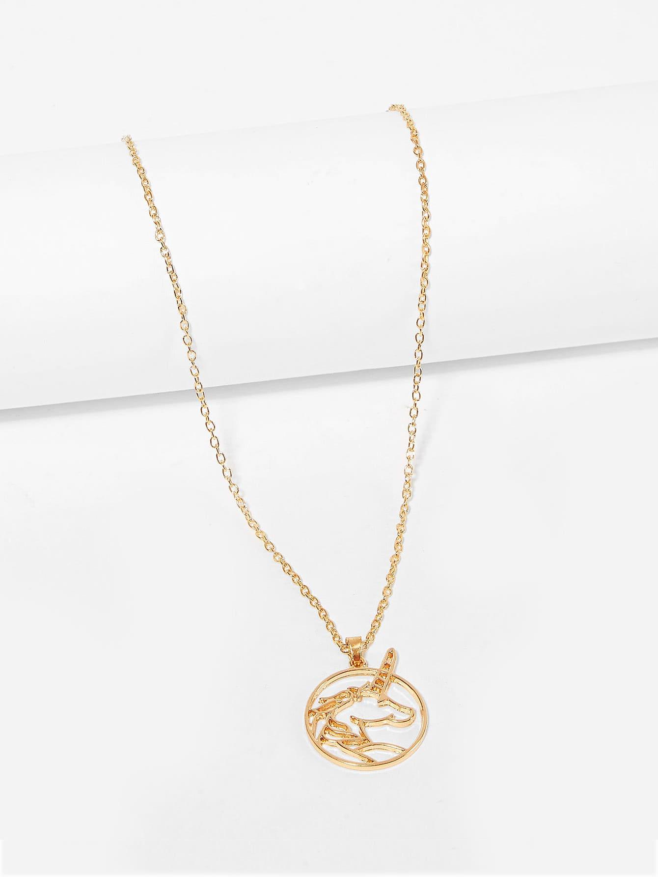 Hollow Unicorn Pendant Chain Necklace