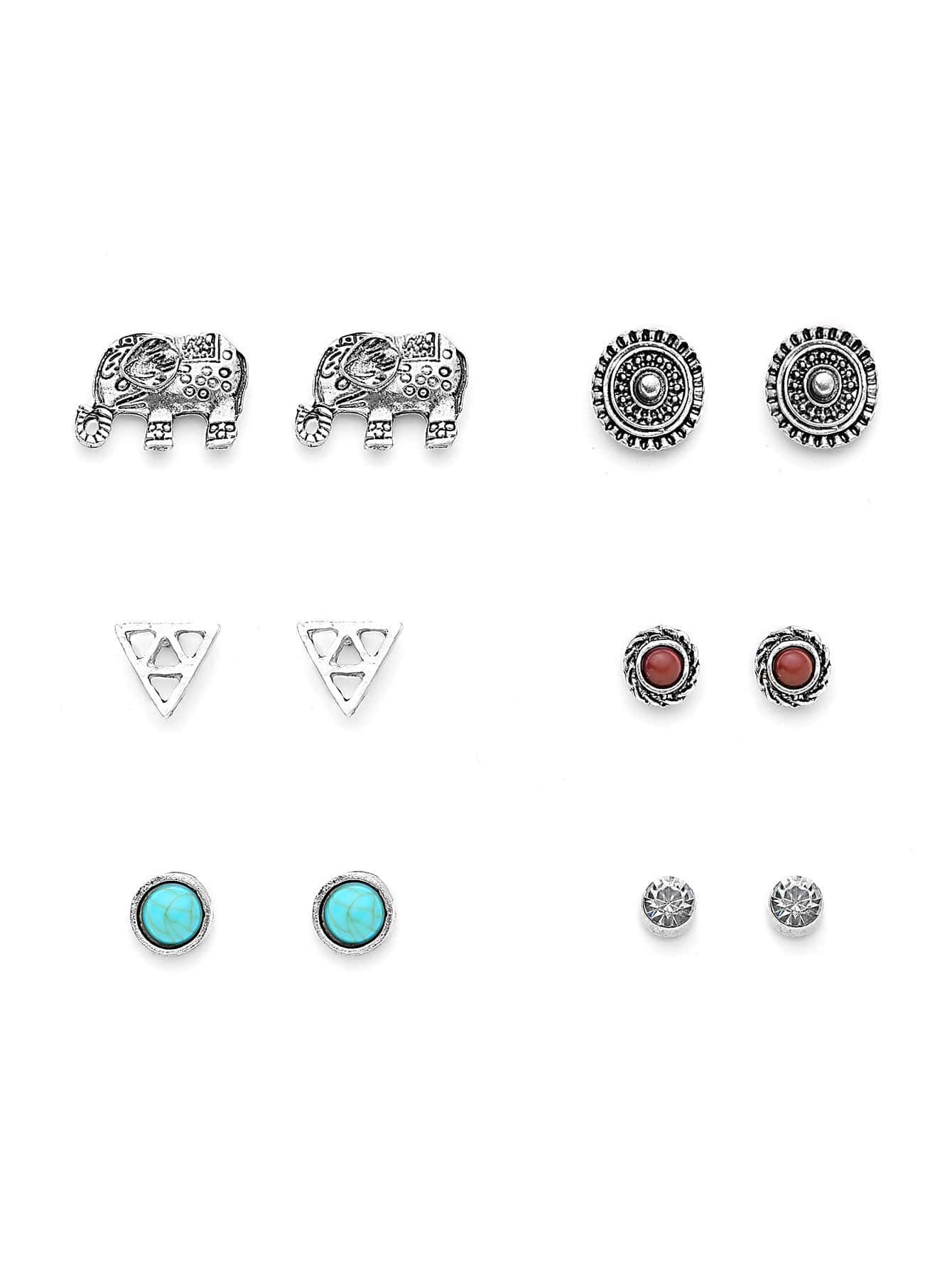 Metal Triangle And Elephant Design Earring Set With