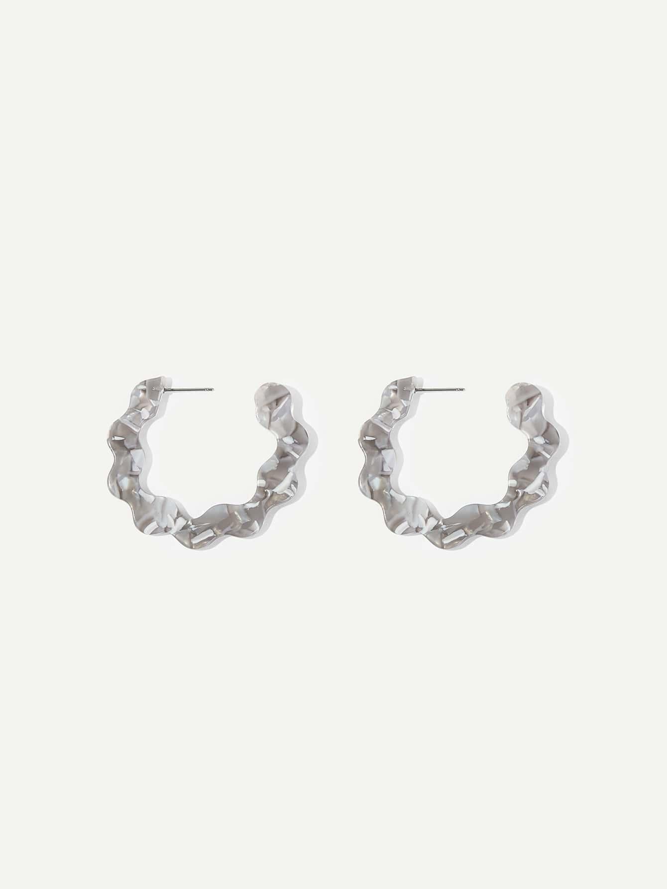 Marble Pattern Scalloped Open Hoop Earrings 1pair Romwe