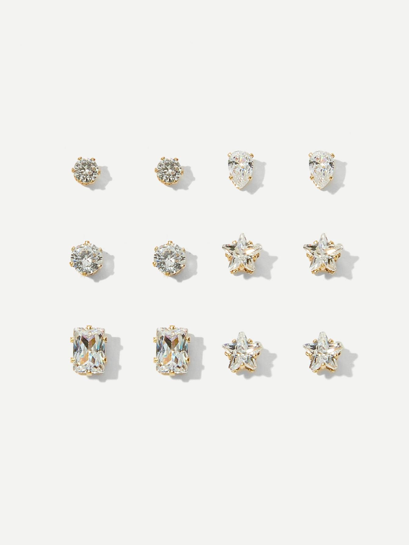 Rhinestone Stud Earrings 6pairs