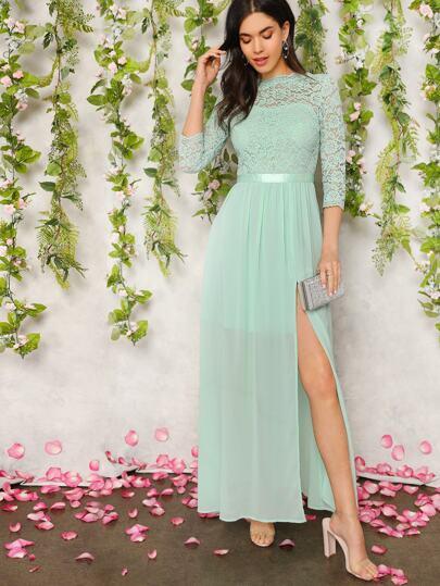 V Neck Back Split Thigh Lace Fit & Flare Dress