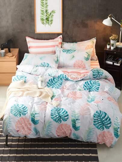 Turtle Leaf Print Bedding Set