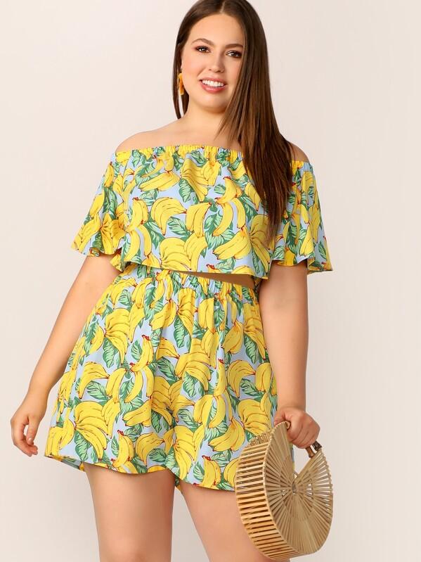 Plus Off Shoulder Banana Print Crop Top & Shorts Set