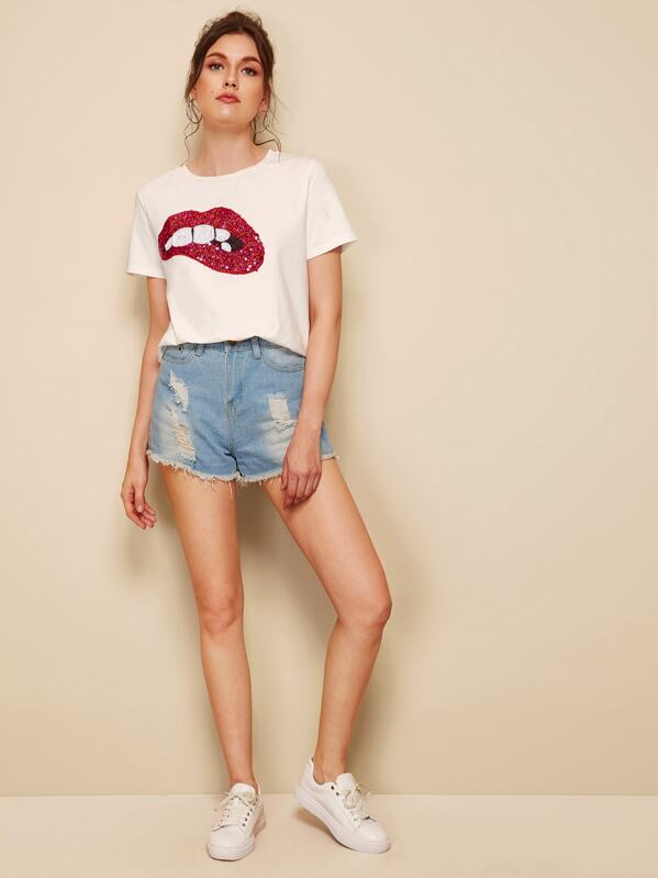 Sequined Sparkely Glittery Cozy Costume Lip Print T-shirt