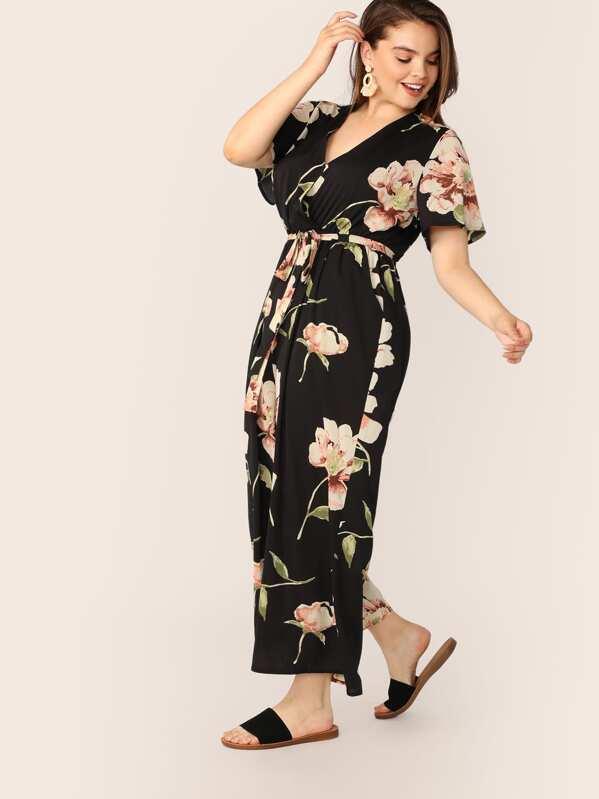 Plus Floral Print Wrap Belted Wide Leg Jumpsuit