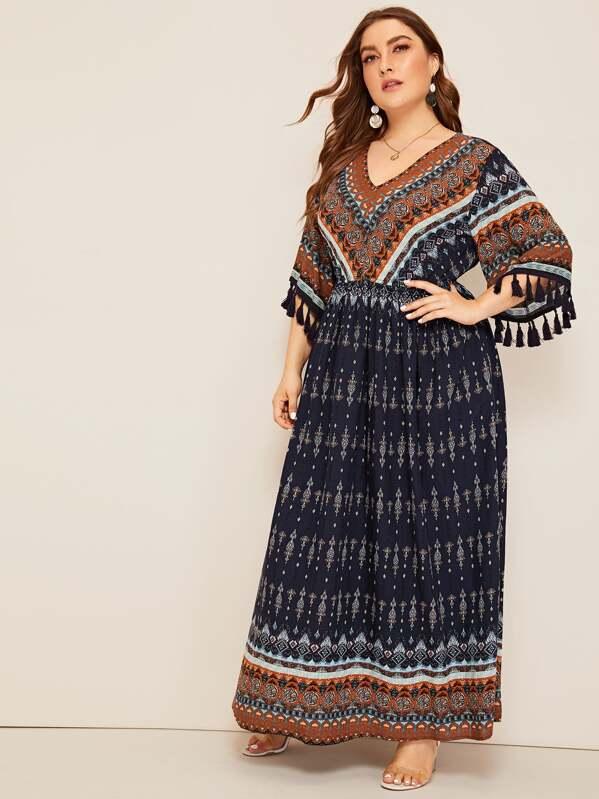 PLus Aztec Print Tassel Cuff Maxi Dress