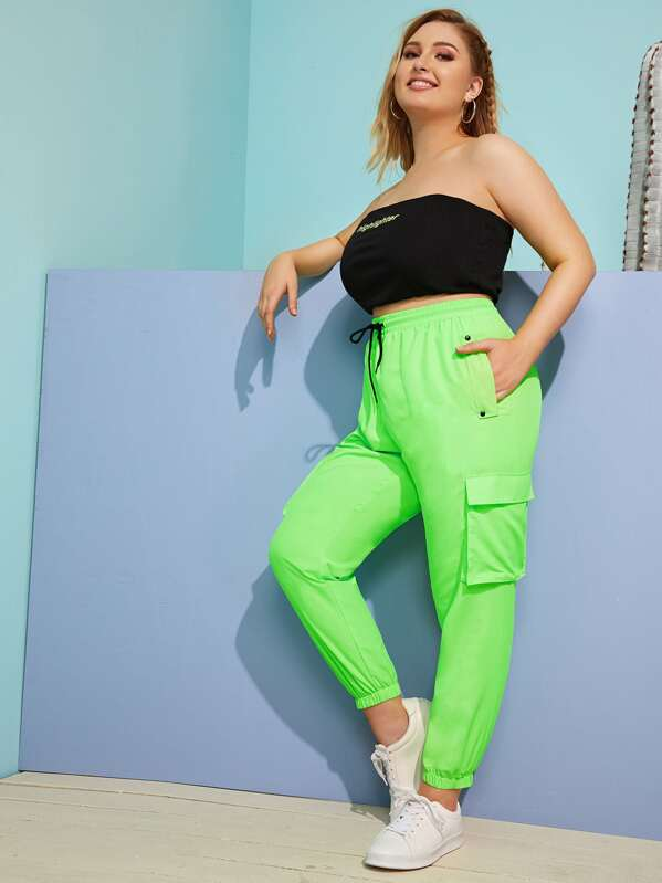 Plus Drawstring Waist Neon Green Cargo Pants