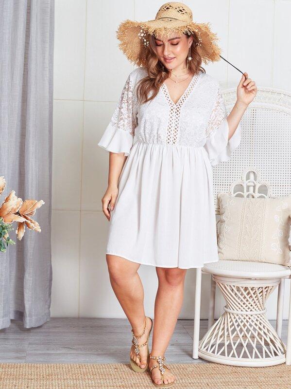 Plus Contrast Lace Sheer Dress