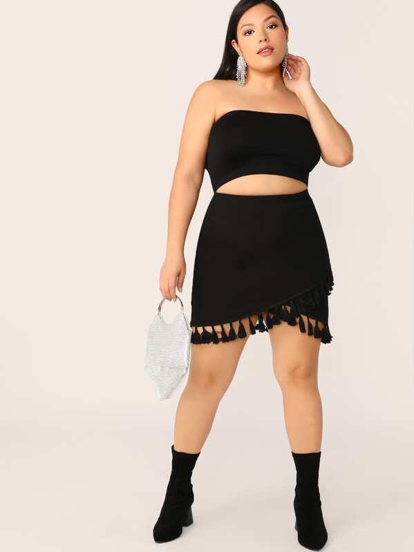 Plus Tassel Trim Fitted Wrap Skirt